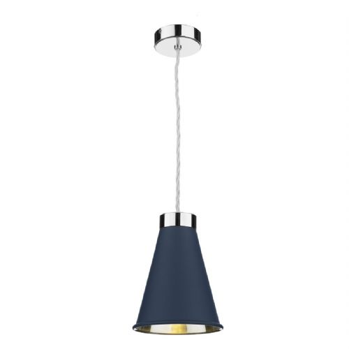 Hyde 1 Light Pendant Chrome + Smoke Blue Metal Shade HYD0123C (7-10 day Delivery)